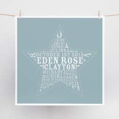 Star Bright word art print