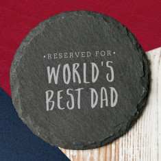 Worlds Best Dad Slate Coaster