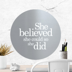 She believed she could so she did stainless steel artwork