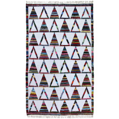 Multi triangle handmade flat weave cotton rug