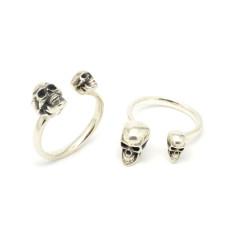 Magna Parva Adjustable Skull Ring in Sterling Silver