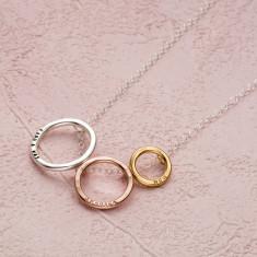 Personalised Tricolore Triple Hoop Necklace