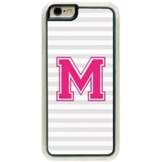 Personalised iPhone Cover - Stripes With Initials (Pink and Blue)