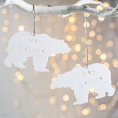 Personalised Mr And Mrs Polar Bear Decoration