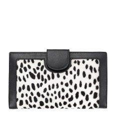 Doris leather wallet in snow cheetah