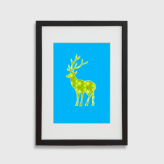 Geo deer framed art print in blue