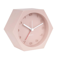 Hexagon Concrete Alarm Clock Pink, Silent Sweep Movement