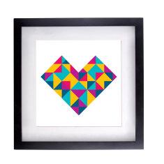 Geometric heart white framed print