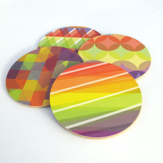 Geometric kaleidoscope coasters (set of 4)