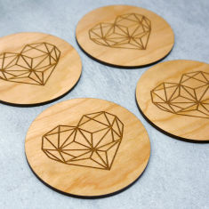 Geometric heart coasters (set of 4)