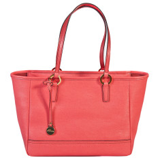 Georgia leather tote in coral