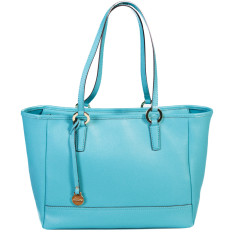 Georgia leather tote in turquoise