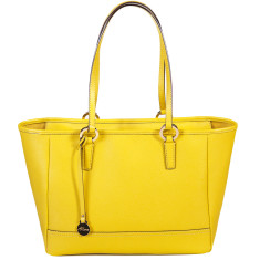 Georgia leather tote in yellow