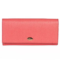 Georgia leather wallet in coral