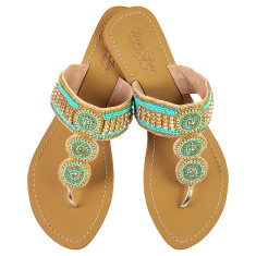 Georgie leather sandals in turquoise