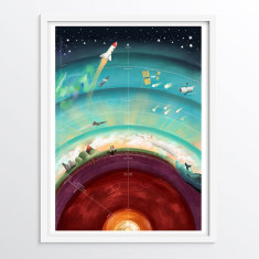 Layers of the Earth and Atmosphere - Educational art poster for children
