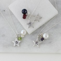 Personalised Birthstone Necklace with Silver Star Charm
