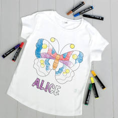 Personalised Colour Your Own Butterfly T Shirt Kit