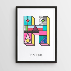 Personalised new retro letter print