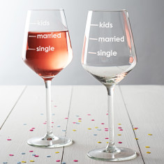 Single, Married, Kids Measures Wine Glass
