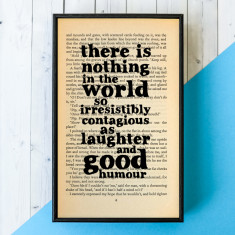 Charles Dickens laughter and good humour framed book page