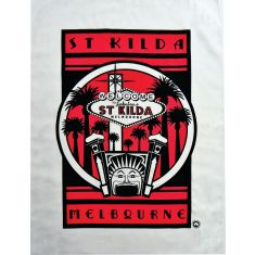 St Kilda Luna Park tea towel in red