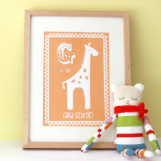 Personalised G is for giraffe child's print