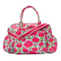 Laminated cotton nappy bag in Alexandra Sage print