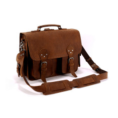 Leather Multi Pocket Briefcase Messenger Bag In Tan