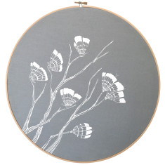 Screen printed butterflies embroidery hoop (grey blue)