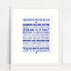 Grandpa's house rules personalised print