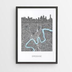Brisbane skyline map print