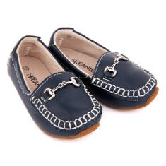 Kids' classic leather loafers in navy
