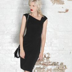 Asymmetric faux wrap cap sleeve dress in black