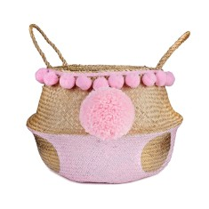 Seagrass belly basket baby pink and metallic gold polka dots with jumbo pompom