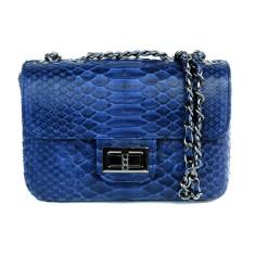 Midnight blue python leather crossbody sling bag