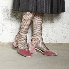 Scarlett Mary Jane Pumps Heels - Pink Velvet