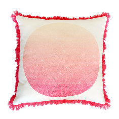 Pink Ombre Flower Print Cushion Cover