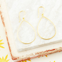 Scarlett Pear Shape Frame Drops In Gold Plate