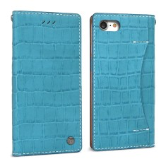 Croco leather iPhone 7 case in Sky Blue /handmade