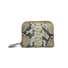 Natural silver gold motif python leather card & coin wallet