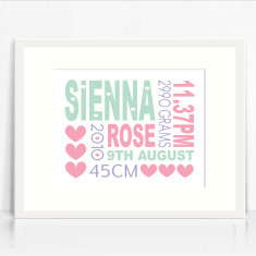 Girls personalised birth details prints