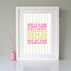 Personalised christening/baptism/naming day print (various colours)