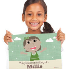 Girls' personalised placemat in green