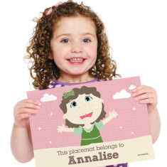 Girls' personalised placemat in pink