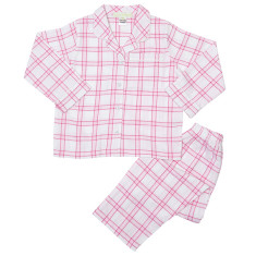Girls' pink check winter pyjamas