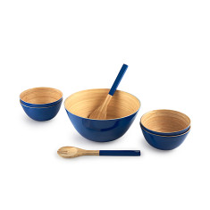 Bamboo 7 Piece Bowl Set in Navy Blue
