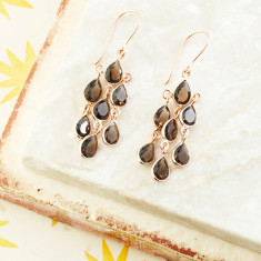 Sofia Multi Pear Drops In Rose Gold Plate