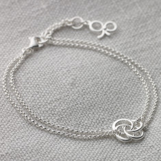 Ladies Sterling Silver Love Knot Double Chain Bracelet
