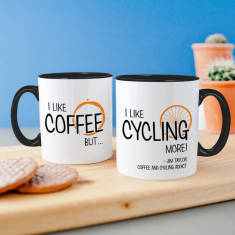 Personalised 'I Love Coffee But…' Cycling Mug
